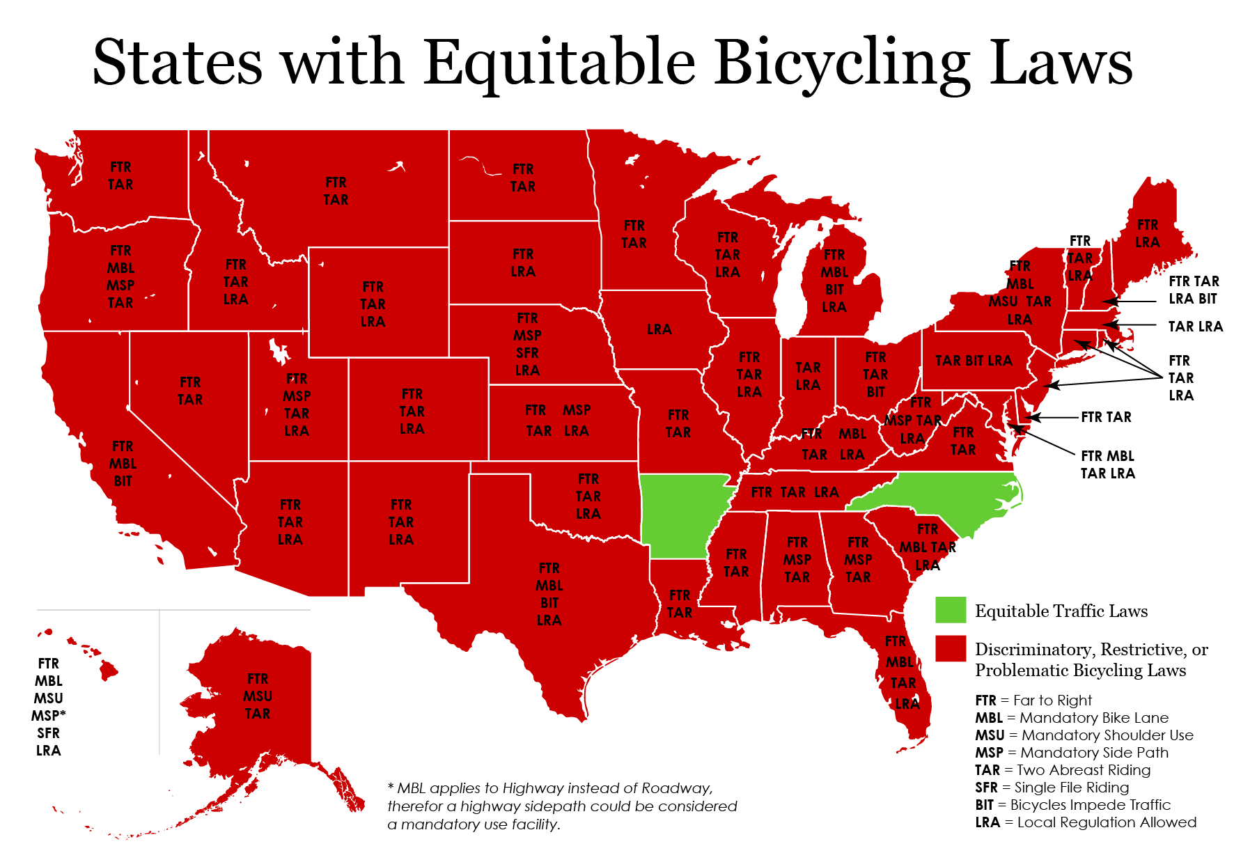 US Bicycle Laws By State I Am Traffic - North carolina on a us map