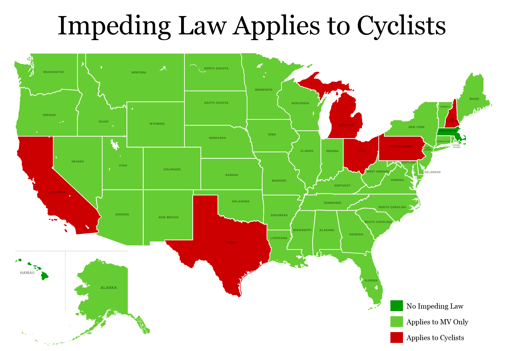US Bicycle Laws By State I Am Traffic - Us map states only
