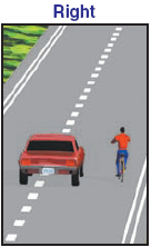 "The California Drivers Handbook shows the ""right"" way to overtake a bicyclist"