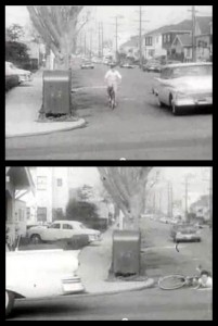 A staged right hook crash in the 1950's  educational film, You and Your Bicycle, Progressive Pictures, Oakland, CA