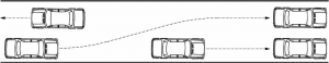Rules for driving on an unlaned road - drive on right half, pass on left, slower vehicles as far right as practicable
