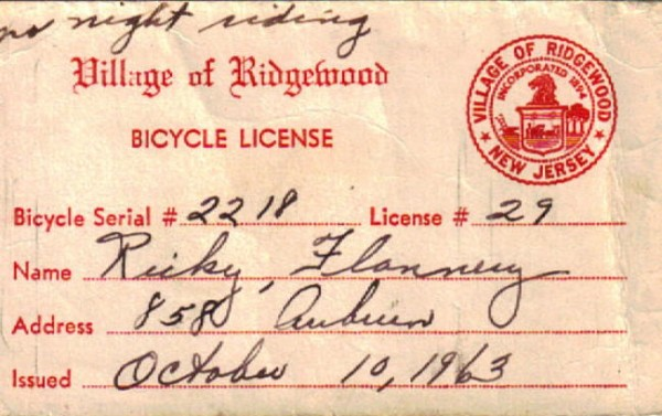 A bicycle license for an elementary school student in 1963. Glen School, Ridgewood, New Jersey
