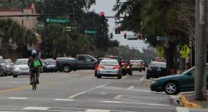 Motorists often do not understand the reasons a bicyclist choses to ride where she does. Click on the image to see the conflicts this bicyclist is avoiding.